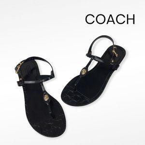 COACH Women's Shiny Pier Black Jelly Sandal Sz 9